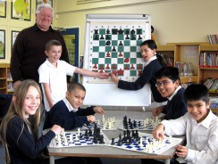 Magnetic chess board in use at Sandal magna school