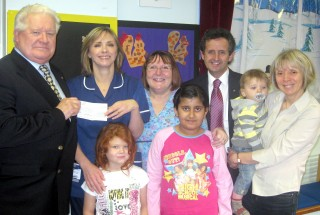 Pinderfields paediatric unit Christmas party cheque presentation