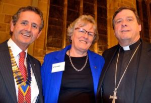 President Stuart Livesey, Sheila Wainwright and the Bishop of Wakefield