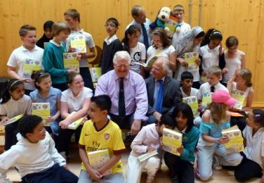 Rold Mold and President Peter Rhodes at a dictionary presentation at Sandal Magna School in JUly 2012