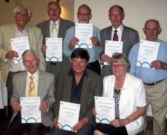 Rotarians with certificates after defibrillator training