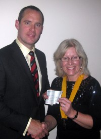 Sue Parkin presents a cheque to Major Andy Rhodes on 18th Dec 2008